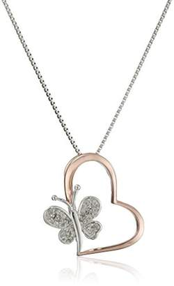 Sterling Silver Diamond Two Tone Butterfly Heart Pendant Necklace (1/10 cttw