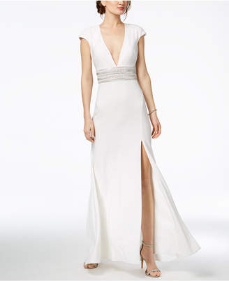 Xscape Evenings Open-Back Sparkle-Belt Gown