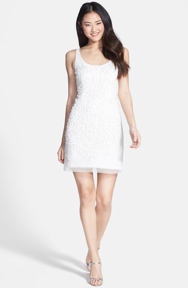 Adrianna Papell Embellished Mesh Tank Dress