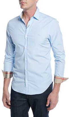 Burberry Cambridge Slim-Fit Stretch-Cotton Sport Shirt, Pale Blue
