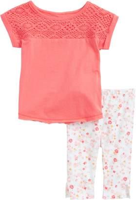 Burt's Bees Baby Kids Crochet Yoke Organic Cotton Tee & Flower Print Leggings Set