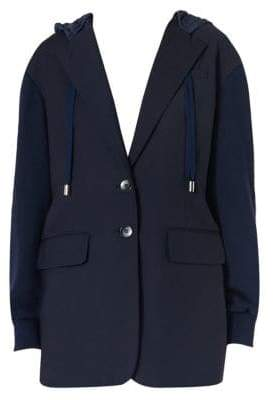 Tibi Reversible Wool-Blend Hooded Blazer