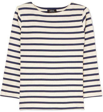 A.P.C. Striped Cotton-jersey Top - Cream