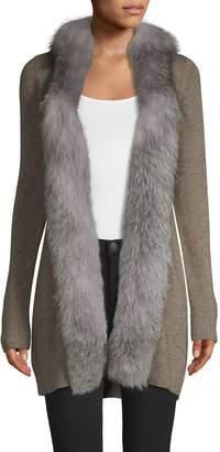 Sofia Cashmere Fox Fur-Trim Open Front Cashmere Cardigan Sweater