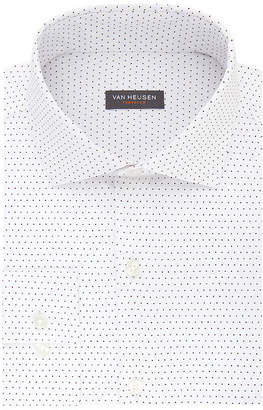 Van Heusen Traveler Long Sleeve Elastane Dots Dress Shirt - Slim