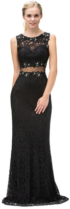 Dancing Queen Lace Illusion Sweetheart Sheer Midriff Long Formal Gown $189 thestylecure.com