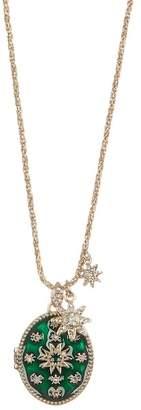 Marchesa Crystal Green Starburst Locket Pendant Necklace