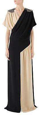 Gucci Women's Embellished Silk Wrap Gown