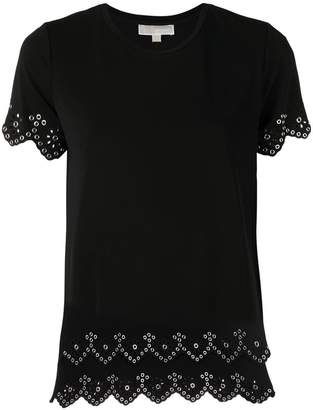 MICHAEL Michael Kors riveted open embroidery tee