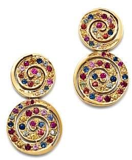 SheBee 14K Yellow Gold Multicolor Sapphire Spiral Drop Earrings