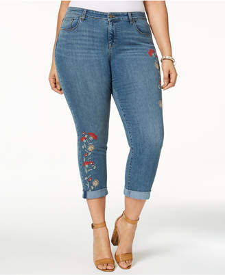 Style&Co. Style & Co Plus Size Embroidered Skinny Jeans, Created for Macy's