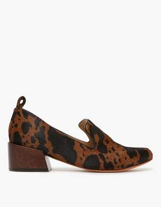 Mari Giudicelli Gavea Loafer in Pony Hair Cow Print Chesnut