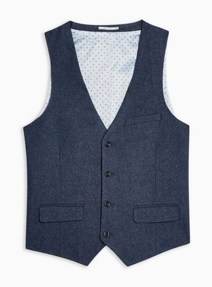 Mens Harry Brown Blue Textured Five Button Slim Fit Suit Waistcoat