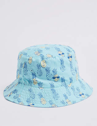 Marks and Spencer Kids' Pure Cotton Pineapple Bucket Hat (0 Month - 6 Years)