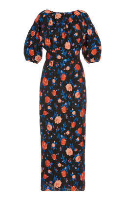 Lela Rose Floral-Print Tie-Detailed Jacquard Midi Dress Size: 6
