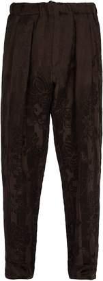 Haider Ackermann Aster floral-jacquard linen-blend trousers