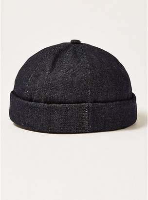 Topman Mens Navy Dark Denim Docker Beanie