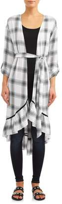 Tru Self Women's Ruffled Plaid Duster Kimono