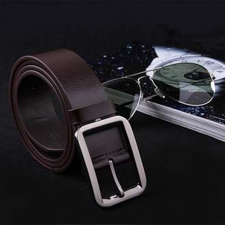 LESHP Belt Alloy Pin Buckle Waistband Genuine Leather Men Waist Wide Strap Casual