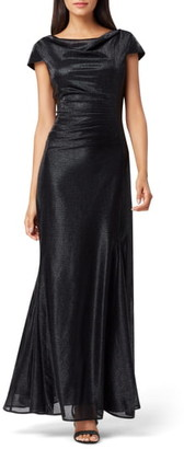 Tahari Stretch Metallic A-Line Gown