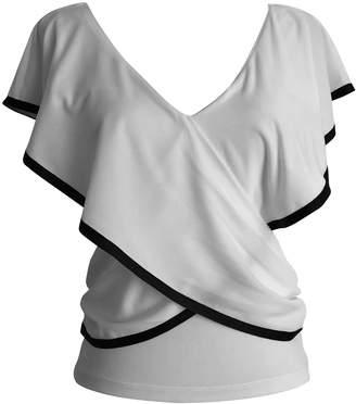 LEFON New York - Crossbody V Neck Shirt Ecru