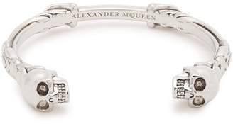 Alexander McQueen Engraved Skull Cuff - Mens - Silver