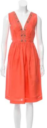 Emilio Pucci Embroidered Organza Dress Orange Embroidered Organza Dress