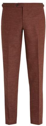 Thom Sweeney - Slim Leg Wool Blend Trousers - Mens - Burgundy