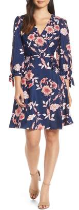 Eliza J Floral Print Faux Wrap Dress