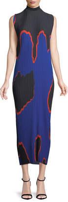 SOLACE London Arielle Mock-Neck Sleeveless Pleated Chiffon Long Dress