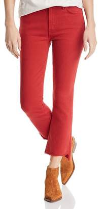 Mother The Insider Frayed Step-Hem Cropped Bootcut Jeans in Hot Rod Red
