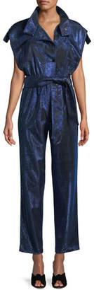 Carolina Ritzler Paola Cap-Sleeve Belted Metallic Jumpsuit