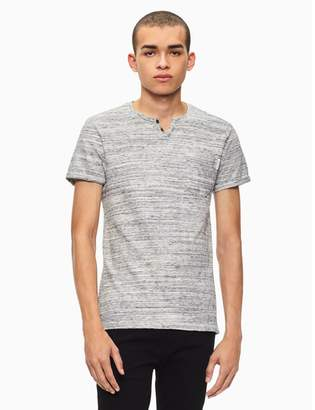 Calvin Klein regular fit streaked heather slit neck t-shirt