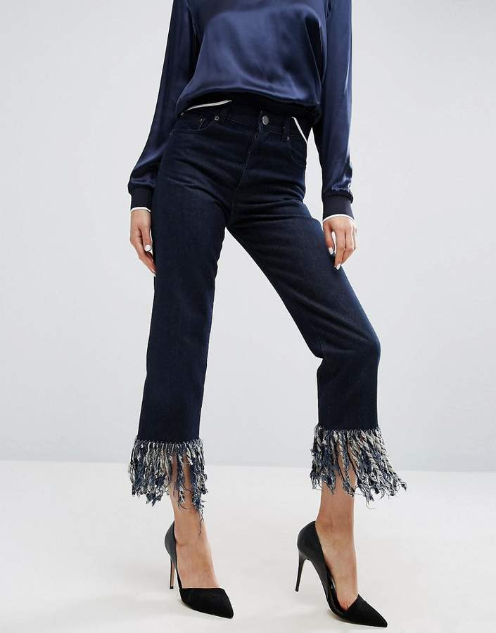 Asos ASOS Authentic Straight Leg Jeans in James Wash with Fringe Hem