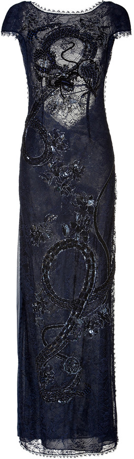 Emilio Pucci Embellished Lace Evening Gown in New Navy