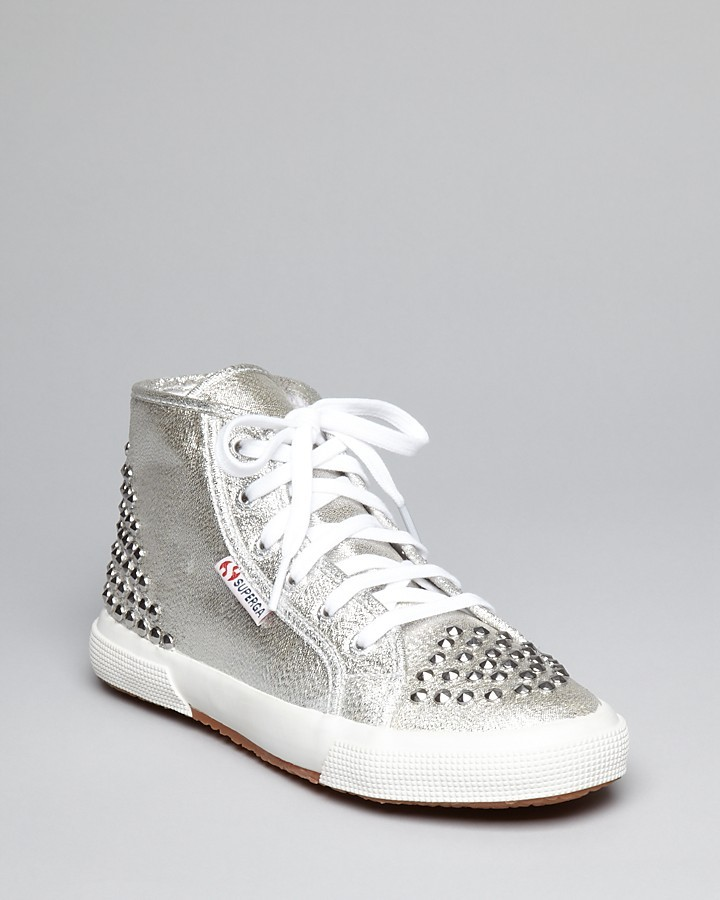 Superga Lace Up High Top Sneakers - Lame Studded