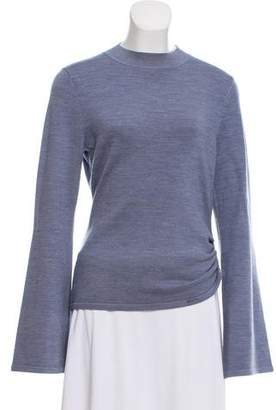 Mother of Pearl Ruched Wool-Blend Sweater