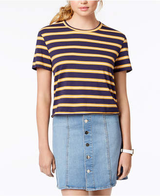 Rebellious One Juniors' Striped Unfinished T-Shirt