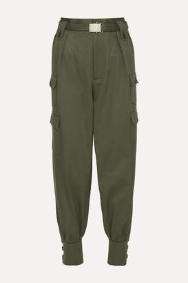 Miu Miu Belted Cotton-gabardine Tapered Pants - Army green