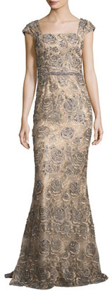 Jovani Cap-Sleeve Beaded Rose Gown, Gray $860 thestylecure.com