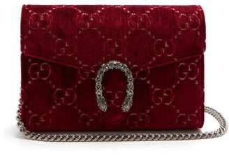 Gucci Dionysus Gg Velvet Shoulder Bag - Womens - Burgundy