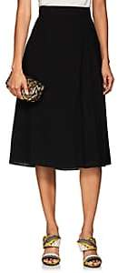 Lanvin Women's Pleated Wool Crepe Midi-Skirt - Black