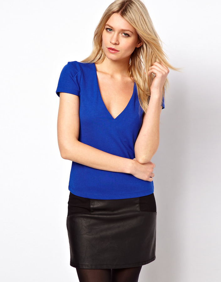 Asos Ponte Top with V Neck and Pleated Sleeves - Blue