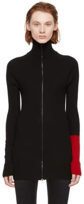 Yohji Yamamoto Black Rib Zip-Up Sweater