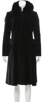 Vivienne Tam Fur-Trimmed Velvet Coat