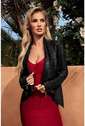 GUESS Shayna Drape Leather Jacket