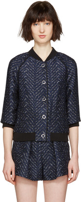 3.1 Phillip Lim Navy Chevron Bomber Jacket $695 thestylecure.com