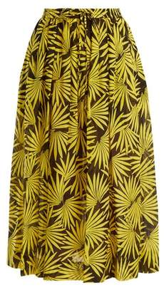 Diane von Furstenberg Floral Print Cotton Blend Midi Skirt - Womens - Yellow Multi