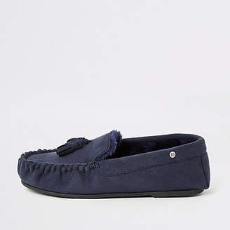 River Island Navy faux fur lined moccasin slippers