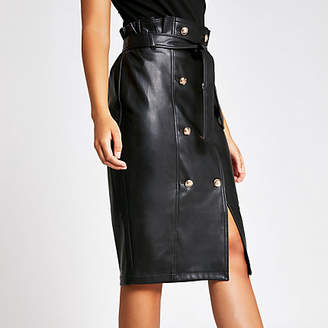 River Island Black faux leather button front pencil skirt